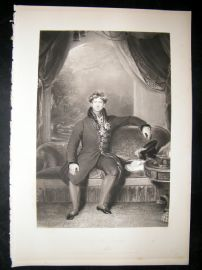 After Thomas Lawrence 1841 Folio Mezzotint Portrait. King George IV